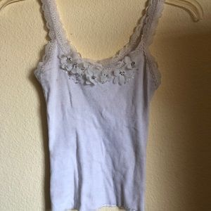 Cute floral white flowers cami tank top size xs